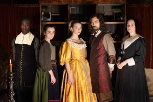 WARNING: Embargoed for publication until 00:00:01 on 28/11/2017 - Programme Name: The Miniaturist - TX: n/a - Episode: n/a (No. 1) - Picture Shows: *STRICTLY NOT FOR PUBLICATION UNTIL 00:01HRS, TUESDAY 28TH NOVEMBER, 2017* Otto (PAAPA ESSIEDU), Cornelia (HAYLEY SQUIRES), Nella Brandt (ANYA TAYLOR-JOY), Johannes Brandt (ALEX HASSELL), Marin Brandt (ROMOLA GARAI) - (C) The Forge - Photographer: Laurence Cendrowicz